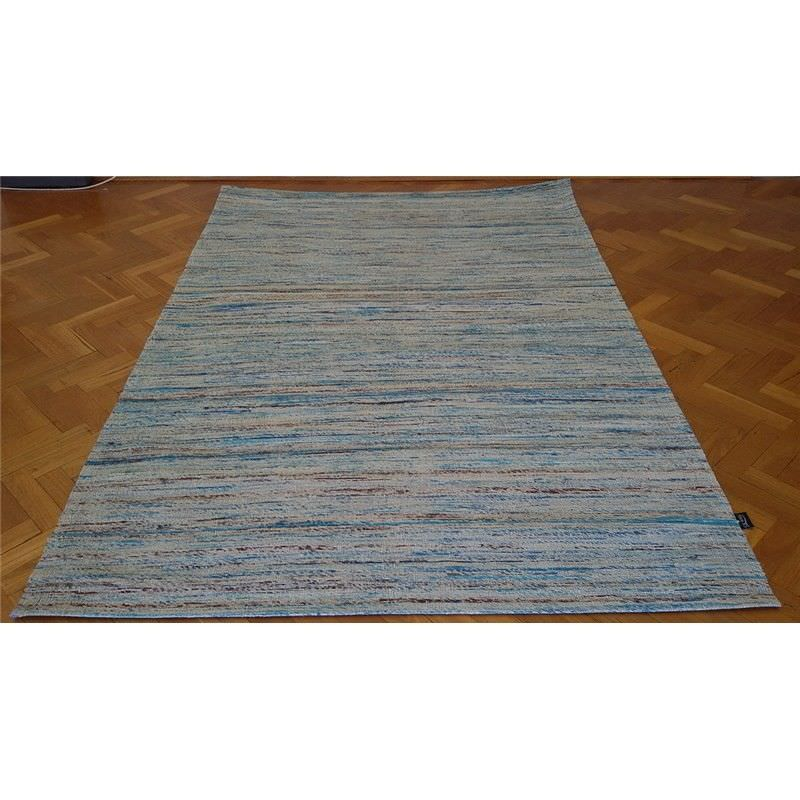 Designer Sari Silk Rug 1026 in Blue - 110x160cm