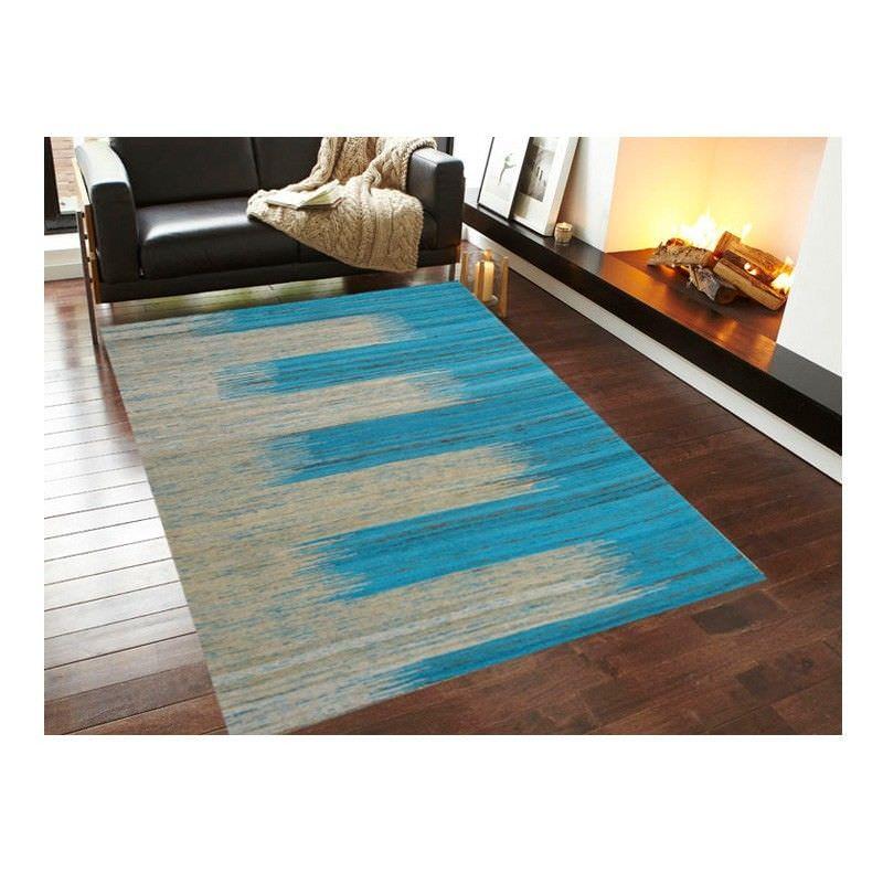 Chocho 1079 Handmade Silk Rug in Blue/Ivory - 110x160cm