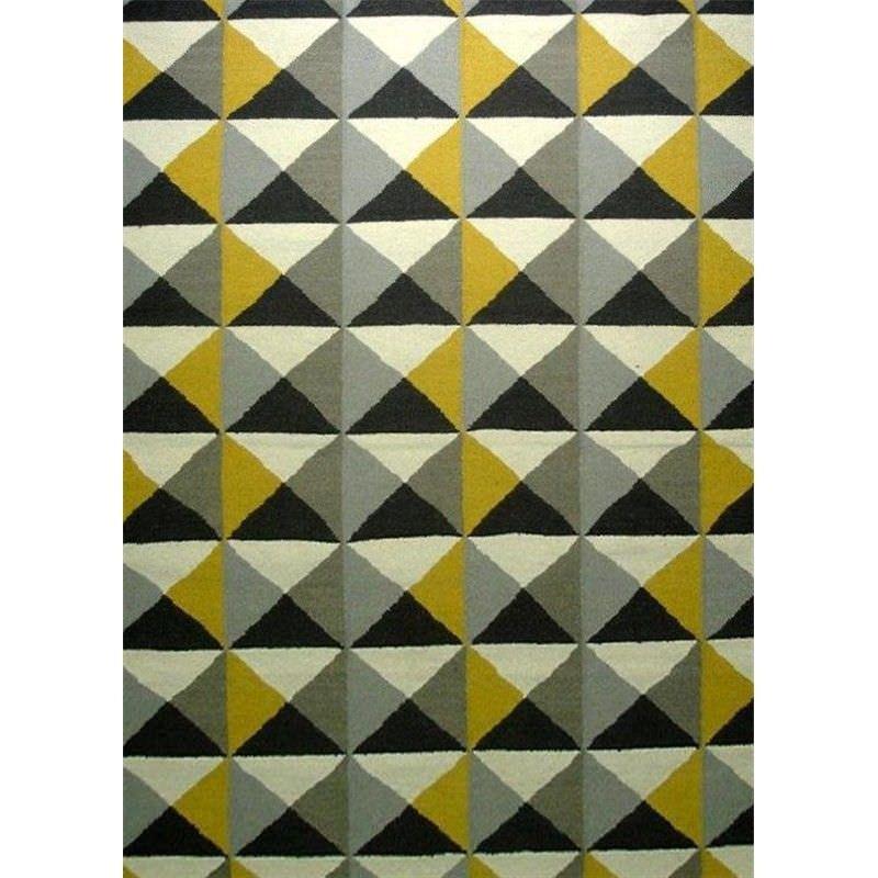 Sweden No.1005 Flat Weave Wool Rug in Yellow/Grey  - 190x280cm