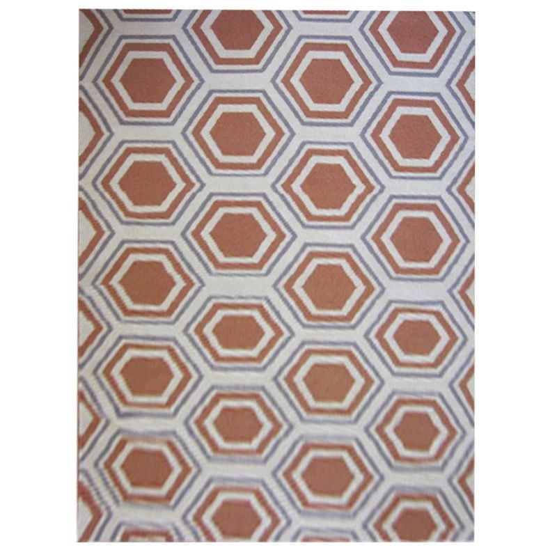 Sweden Honeycomb Hand Tufted Wool Dhurrie Rug, 280x190cm, Apricot