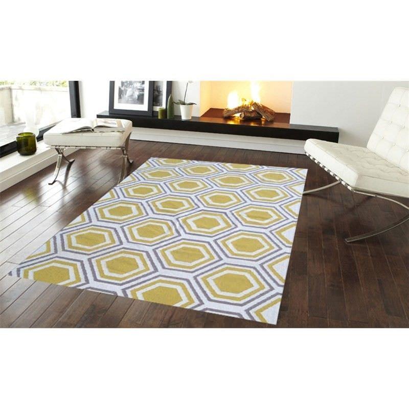 Trendy Woollen Durries in Yellow - 160x230cm