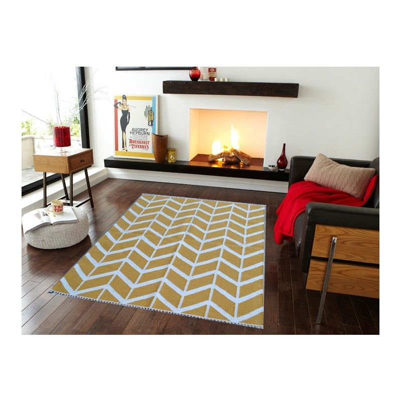 Sweden 1054 Handmade Wool Rug in Yellow - 110x160cm