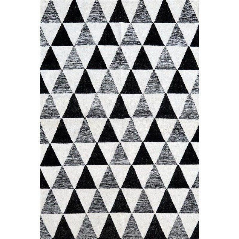 Sweden No.2020 Flat Weave Wool Rug in White/Black- 110x160cm