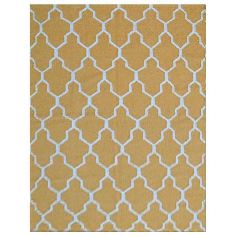 Sweden Quatrefoil Hand Tufted Wool Dhurrie Rug, 230x160cm, Yellow