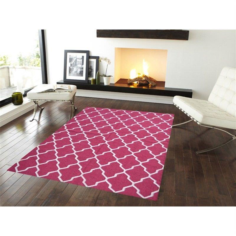 Trendy Woollen Durries in Rani Pink - 190x280cm