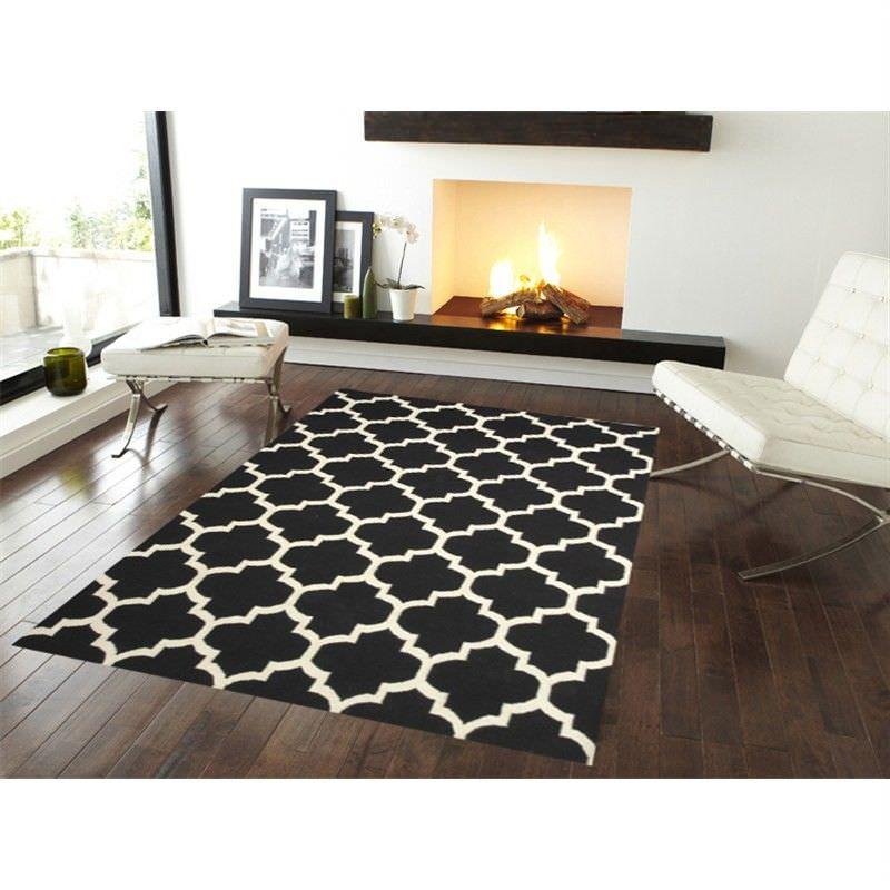 Trendy Woollen Durries in Black-White - 160x230cm