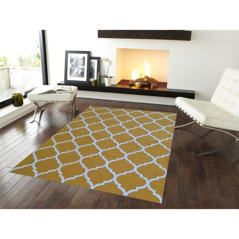 Trendy Woollen Durries in Light Yellow - 110x160cm