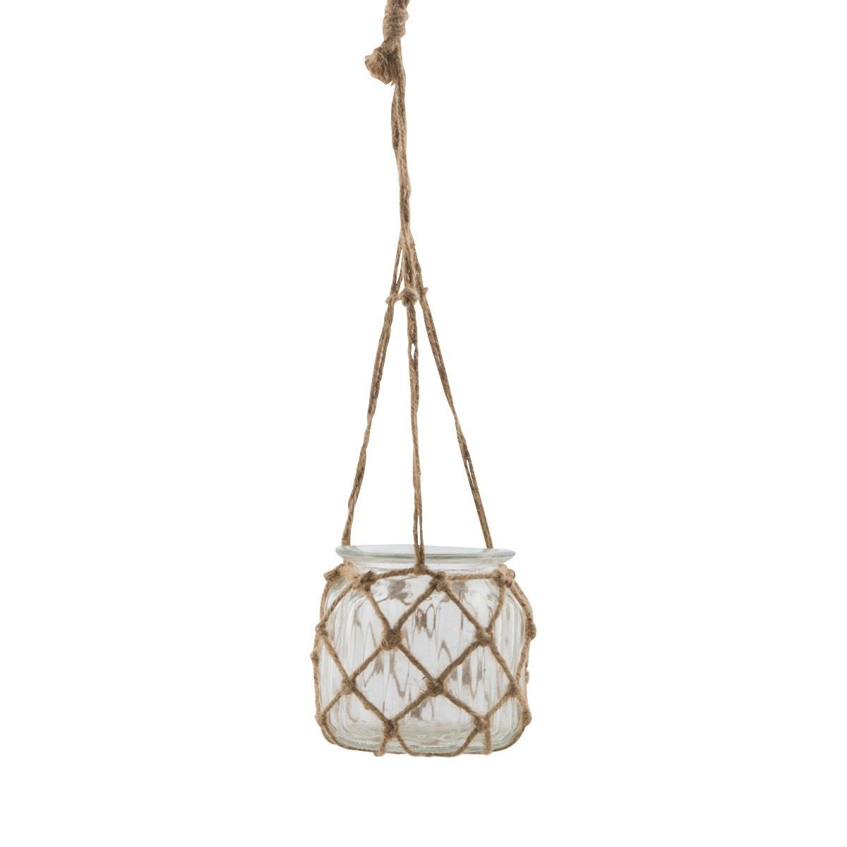 Kenta Jute & Glass Hanging Lantern