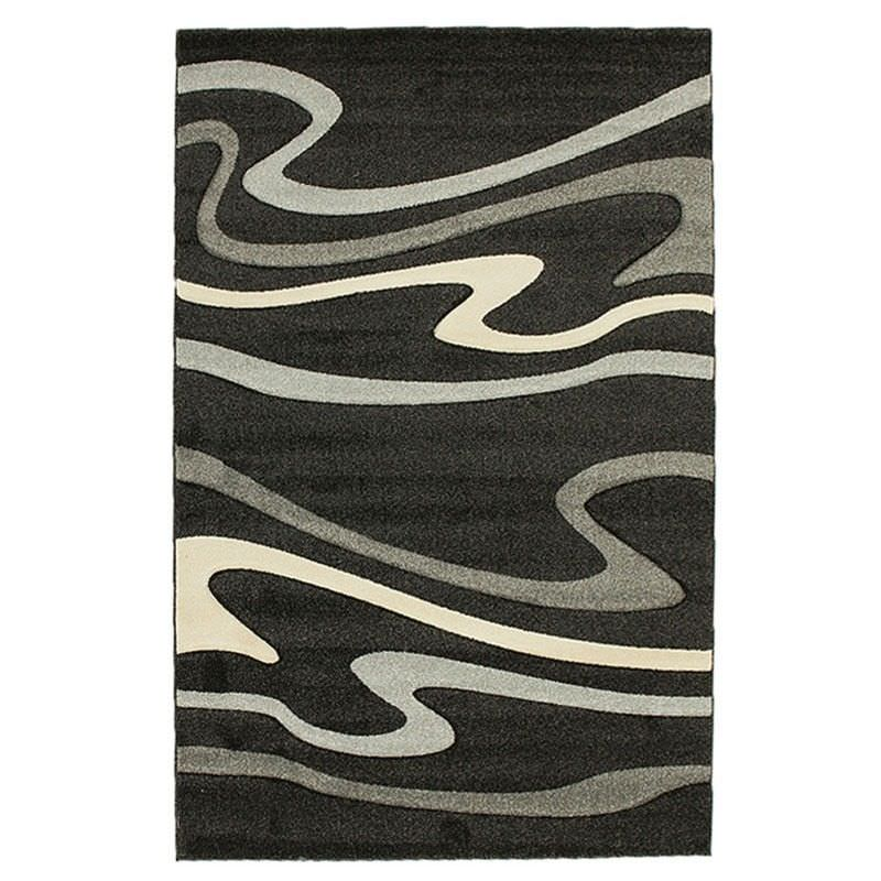 Icon Swirls Modern Rug, 230x160cm, Black