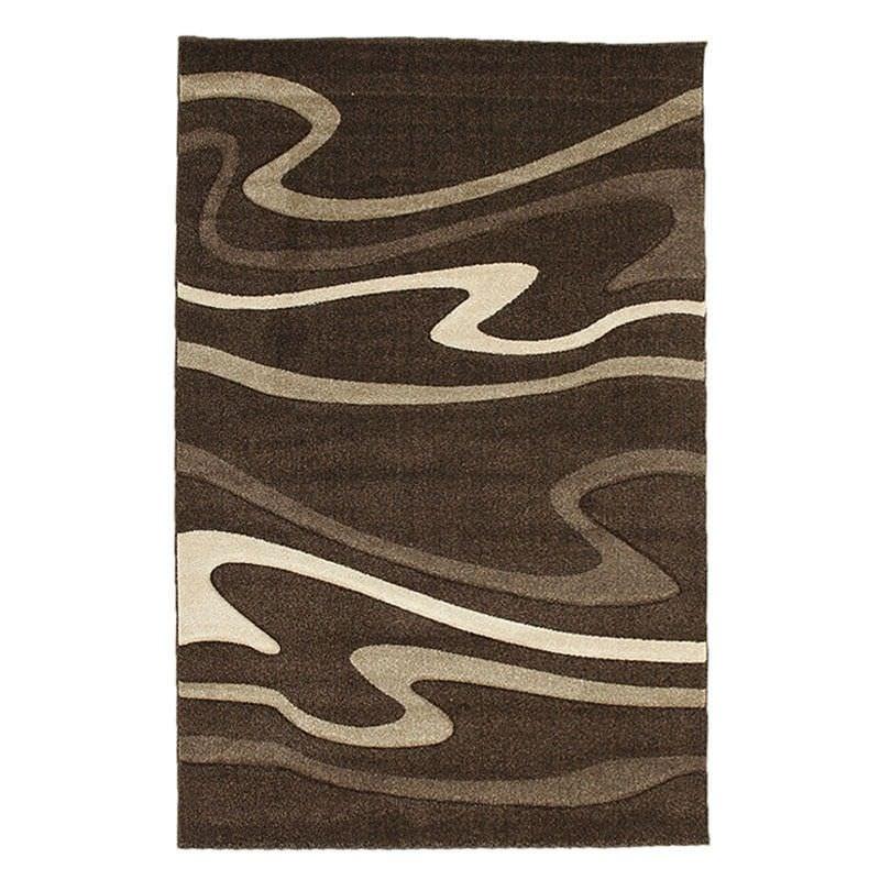 Icon Swirls Modern Rug, 150x80cm, Dark Brown