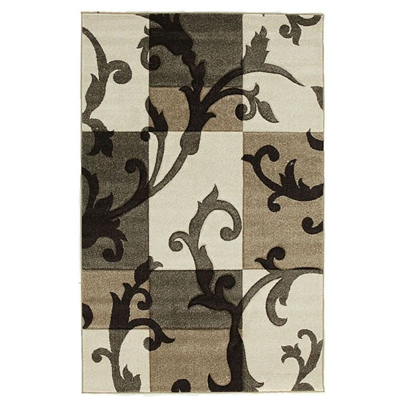 Icon Tiled Vines Modern Rug, 230x160cm, Cream
