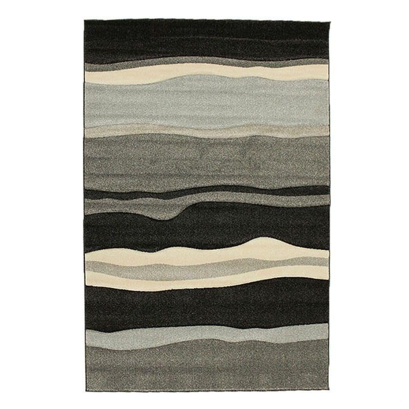 Icon Rhythm Modern Rug, 230x160cm, Black / Grey