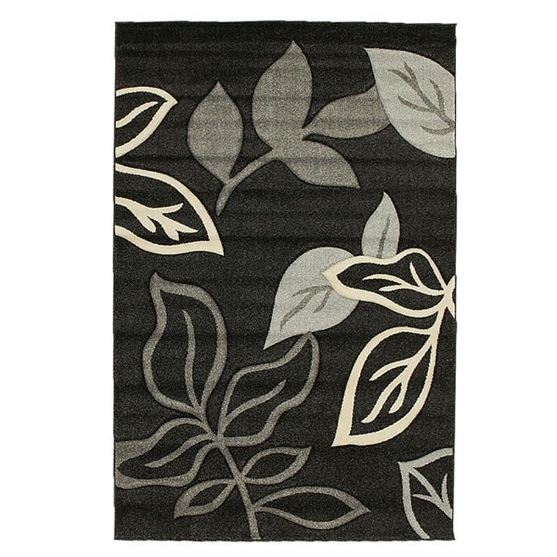 Icon Leaves Modern Rug, 230x160cm, Black