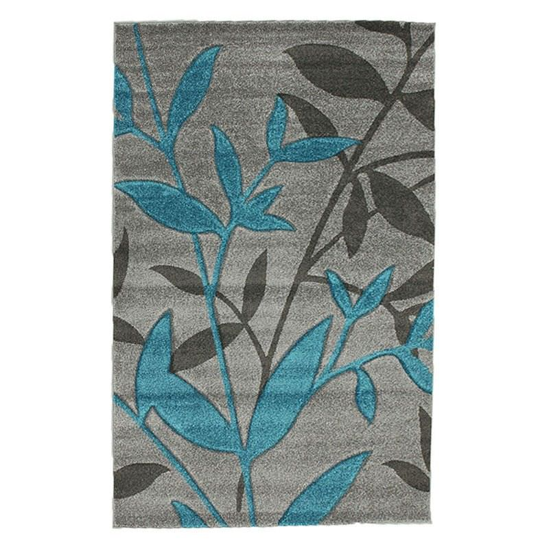 Icon Willow Leaves Modern Rug, 230x160cm, Grey