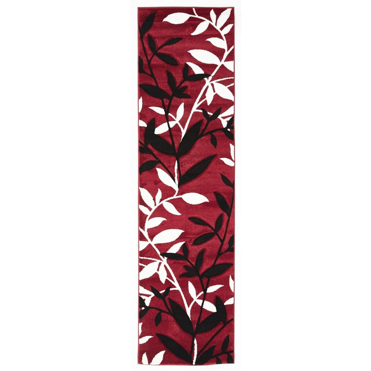 Icon Willow Leaves Modern Runner Rug, 300x80cm, Red