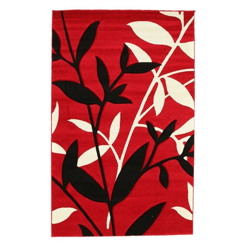 Icon Willow Leaves Modern Rug, 230x160cm, Red