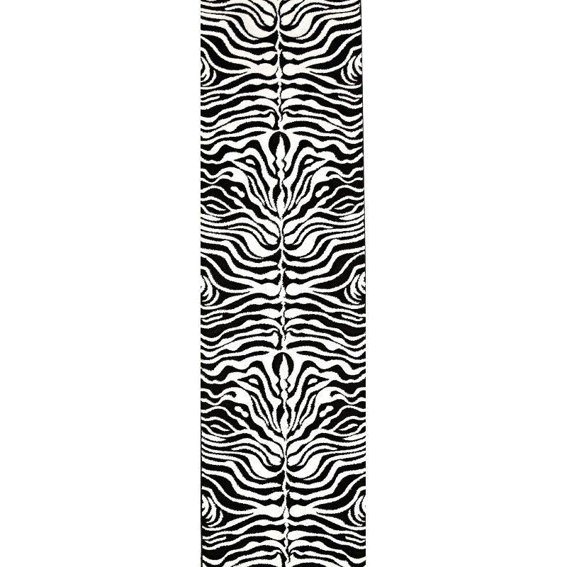 Icon Zebra Turkish Made Modern Runner Rug, 400x80cm, Black / Off White