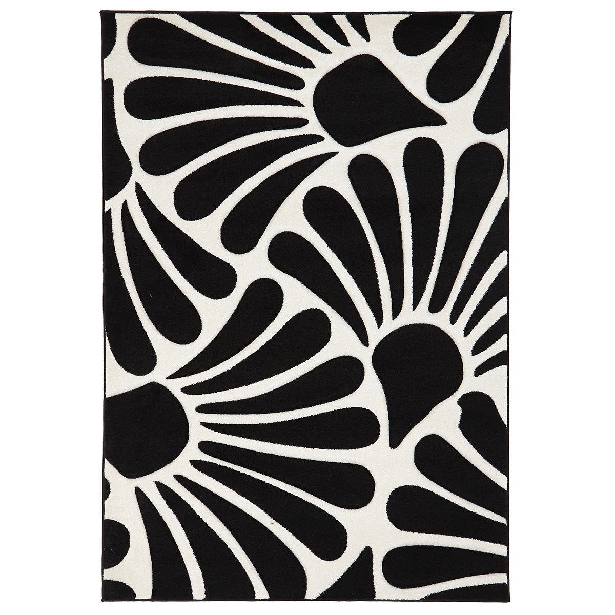 Icon Fern Turkish Made Modern Rug, 290x200cm, Black / White