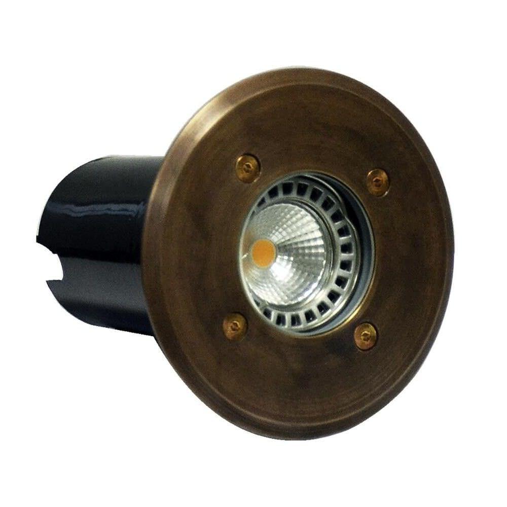 Lomond IP67 Exterior Recessed Wall / Inground Up Light, Round, Antique Brass