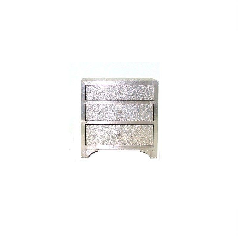 Indigo White Metal 3 Draw Jewellery Box