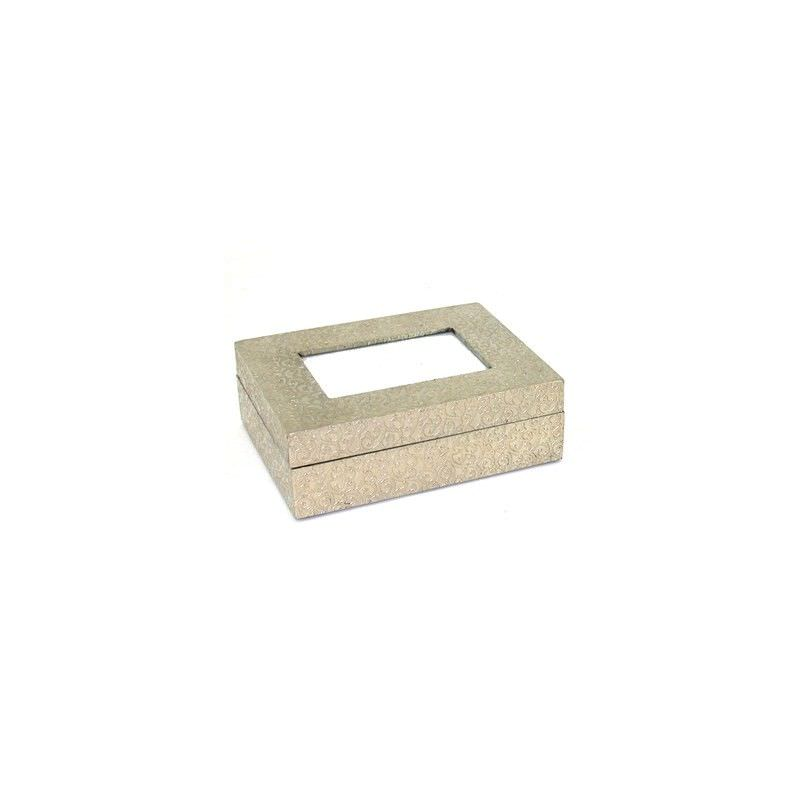Indigo White Metal Photo Box