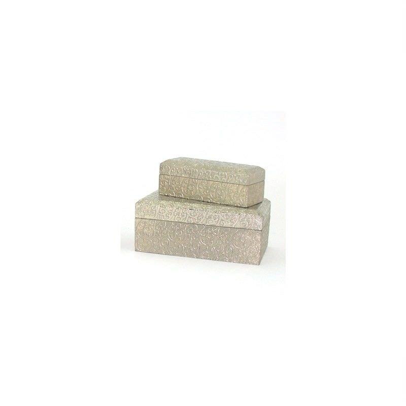 Indigo White Metal Set of 2 Treasure Boxes