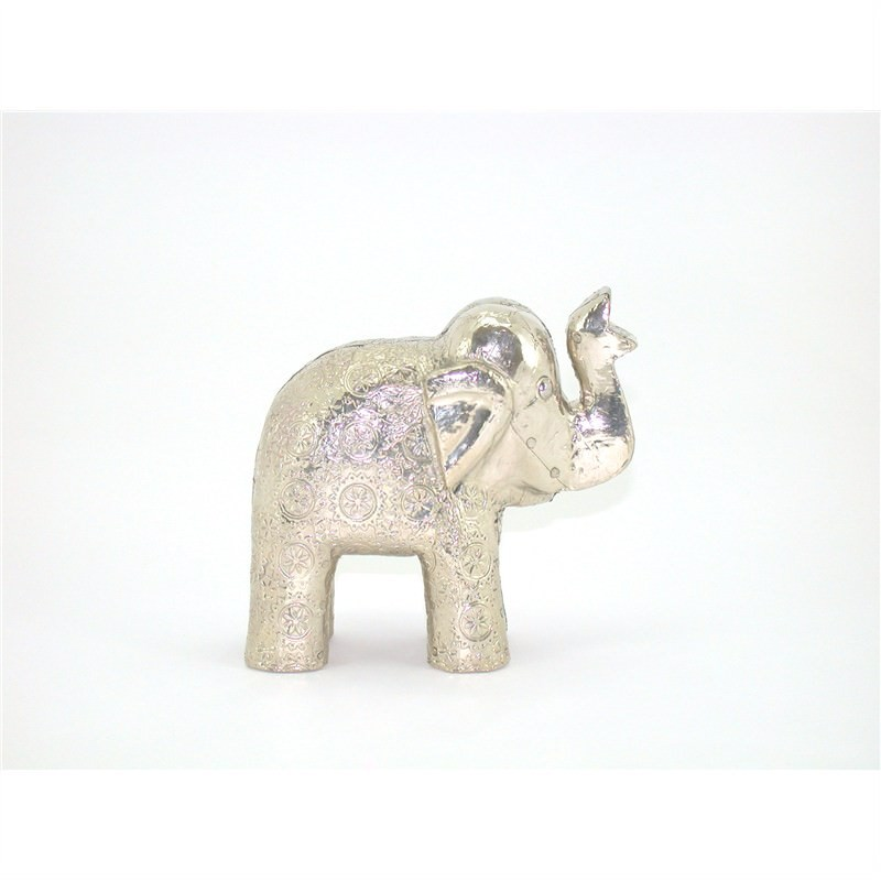 White Metal and Timber Circle Elephant  - 11x4x11cm