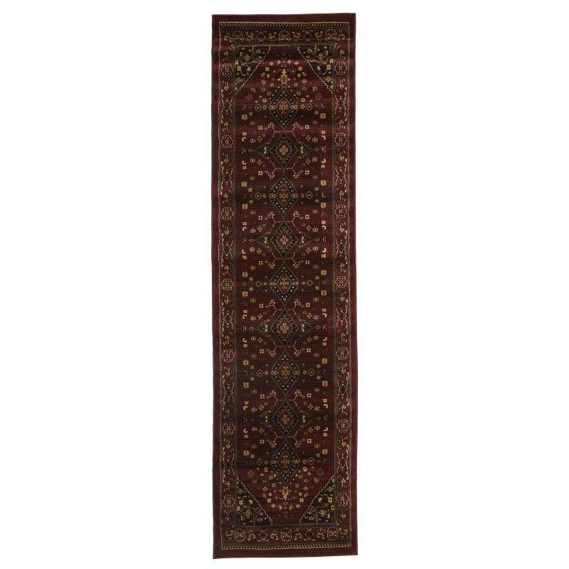 Istanbul Shiraz Turkish Made Oriental Rug, 300x80cm, Burgundy