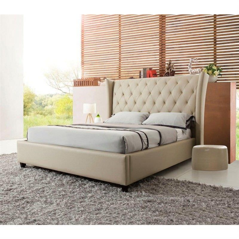 Scavo Leather King Bed - Latte