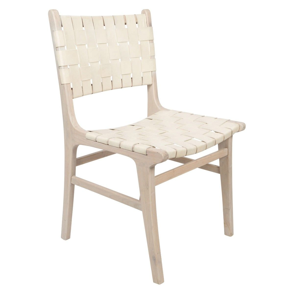 Numadu Wooden Dining Chair with Woven Leather Seat, Ivory