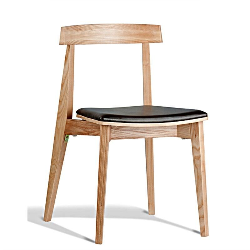 Ito Commercial Grade Solid Timber Dining Chair with PU Seat,  Natural / Black