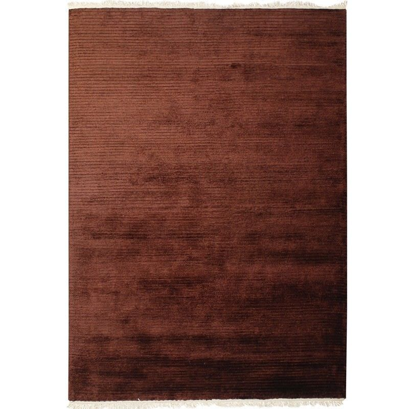 Indo Napal Hand Knotted Wool & Banana Silk Rug, 80x350cm, Chocolate