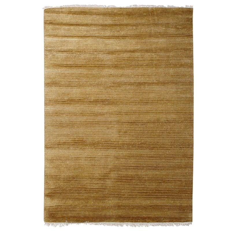 Indo Napal Hand Knotted Wool & Banana Silk Rug, 160x230cm, Dark Beige