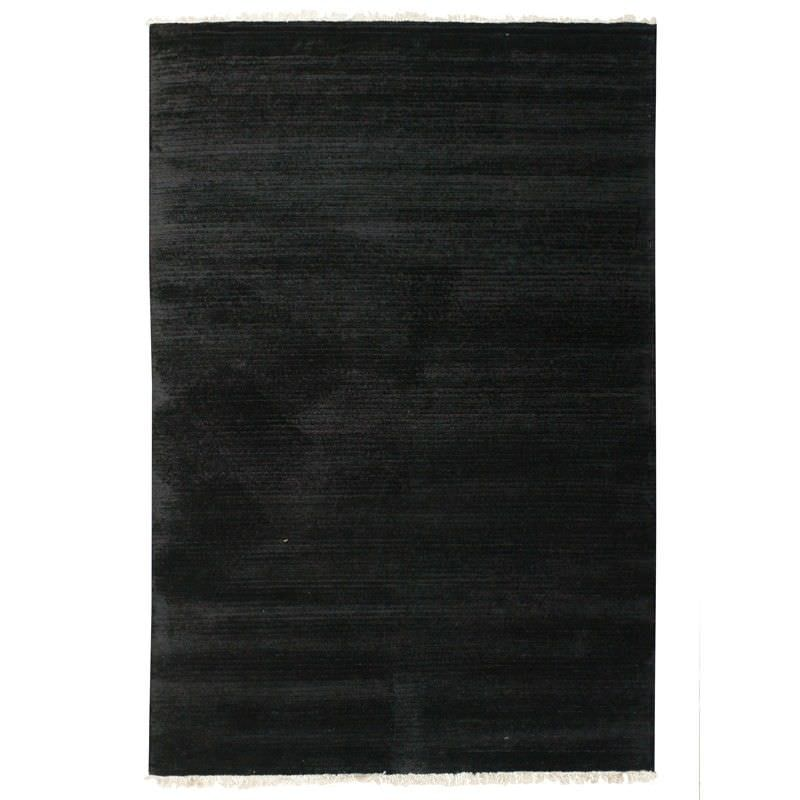 Indo Napal Hand Knotted Wool & Banana Silk Rug, 160x230cm, Black