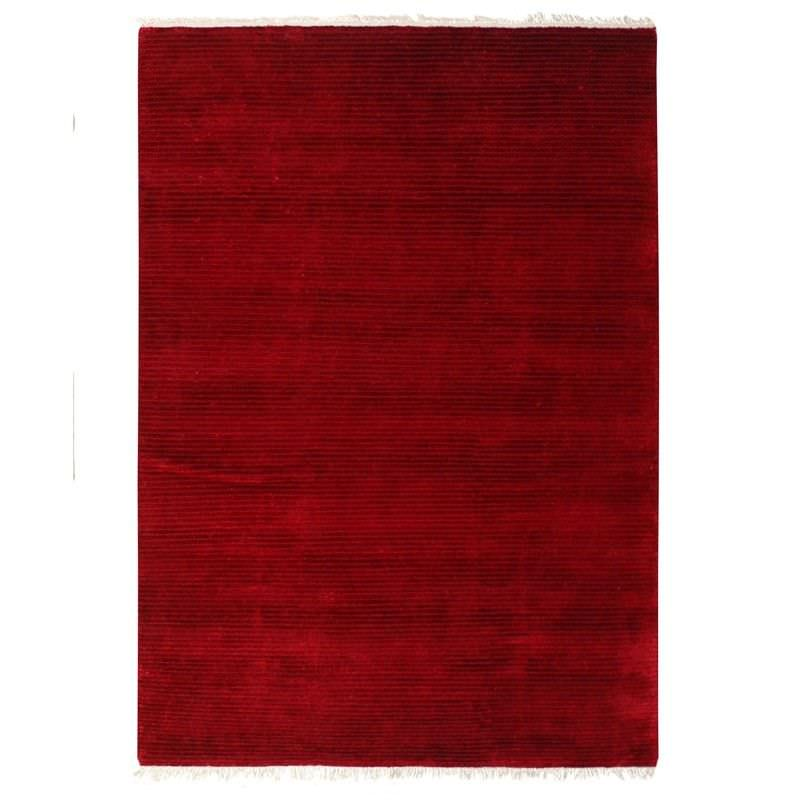 Indo Napal Hand Knotted Wool & Banana Silk Rug, 160x230cm, Red