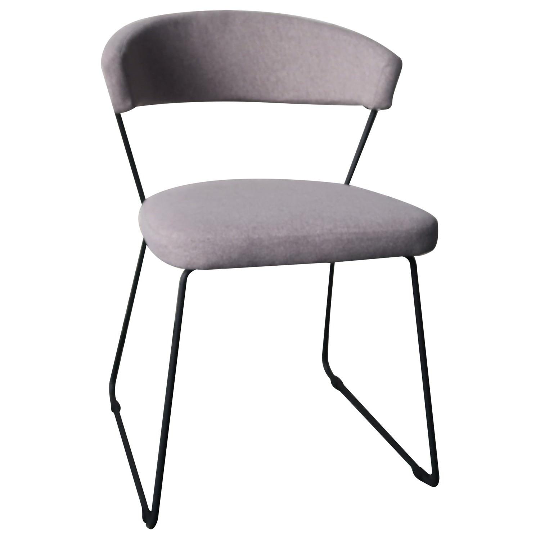 Carter Fabric Dining Chair, Light Grey / Black