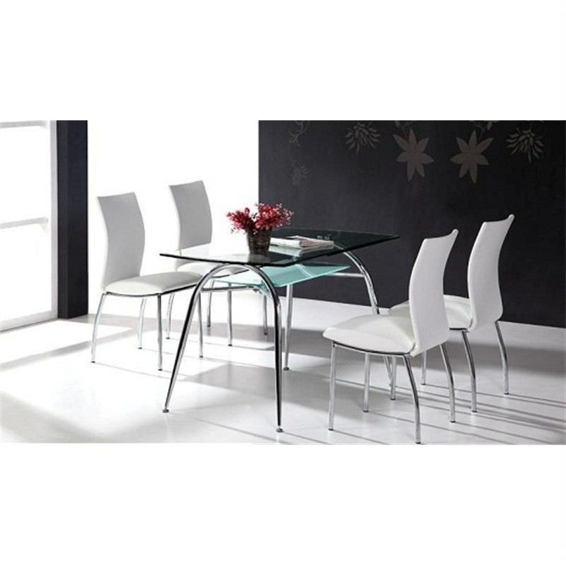Jeremy Tempered Glass & Metal 145cm Dining Table  (Table Only)