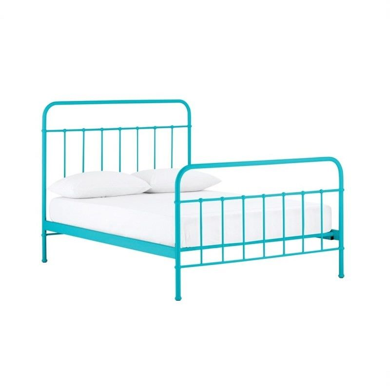 Jessica Metal King Single Bed - Blue