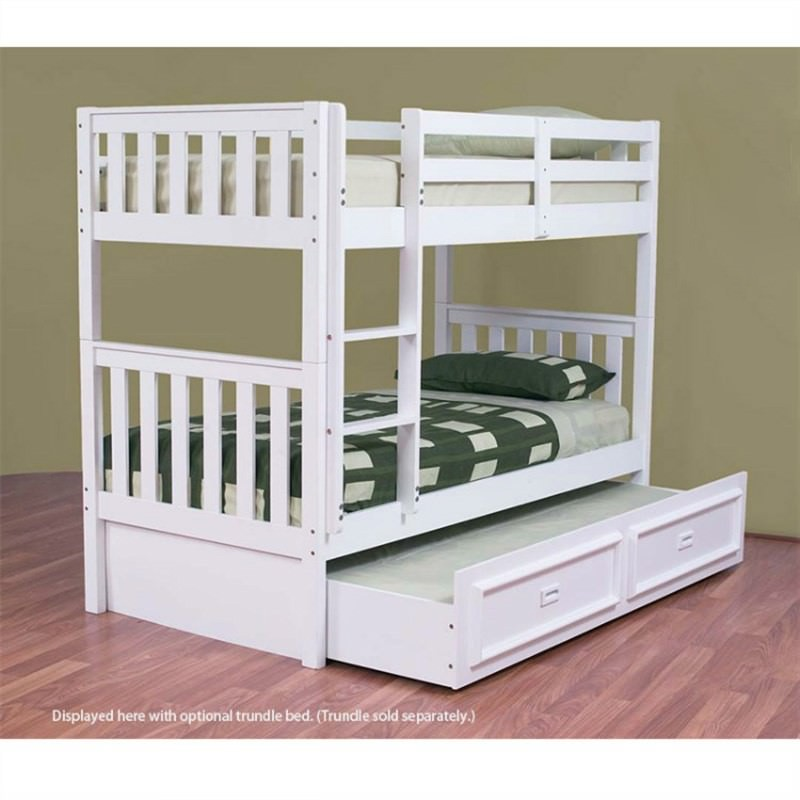 Jester Wooden Single Bunk Bed without Trundle - Arctic White