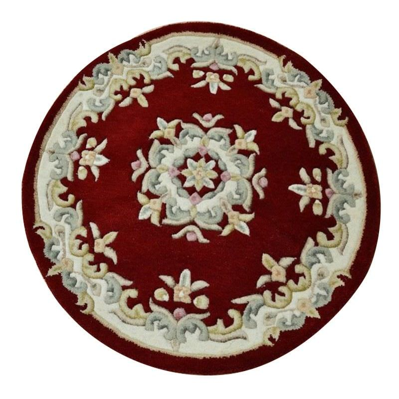 Jewel Hand Tufted 160cm Round Wool Rug - Red