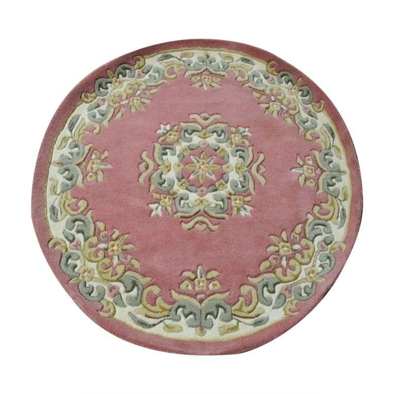 Jewel Hand Tufted 160cm Round Wool Rug - Pink