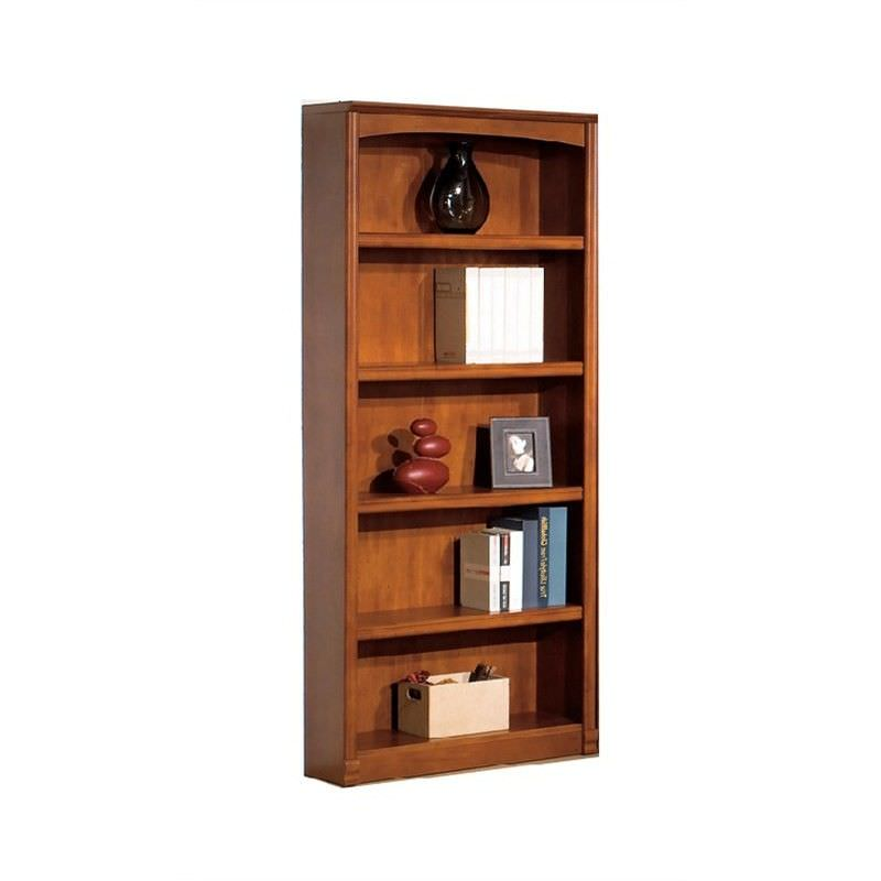 Logan Wooden 5 Shelf Bookcase - Brushed Maple Stain