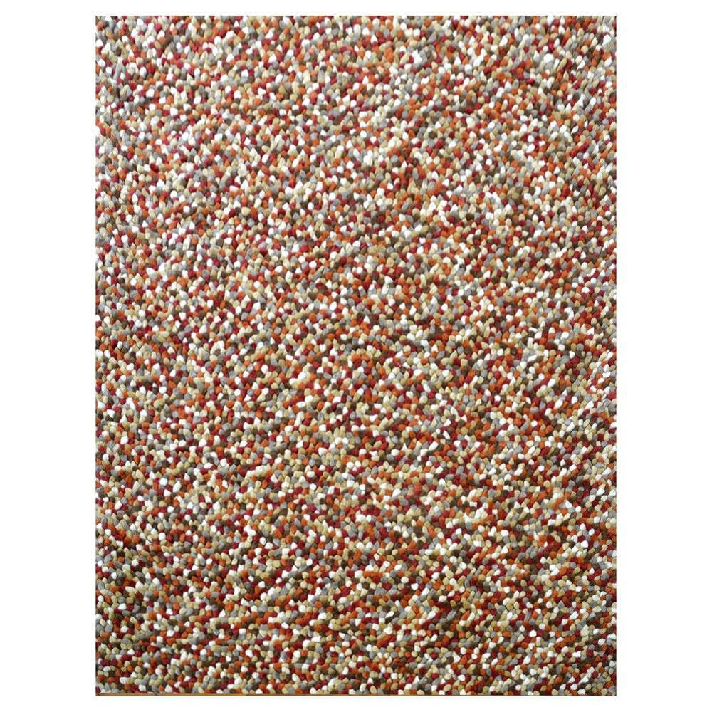 Jelly Bean Wool Felt Ball Rug, 150x80cm, Autumn