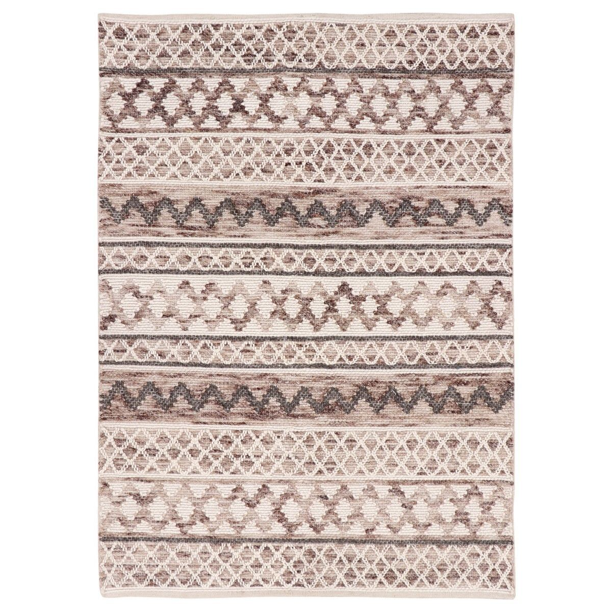 Omen Handwoven Wool Rug, 230x160cm, Ivory / Brown