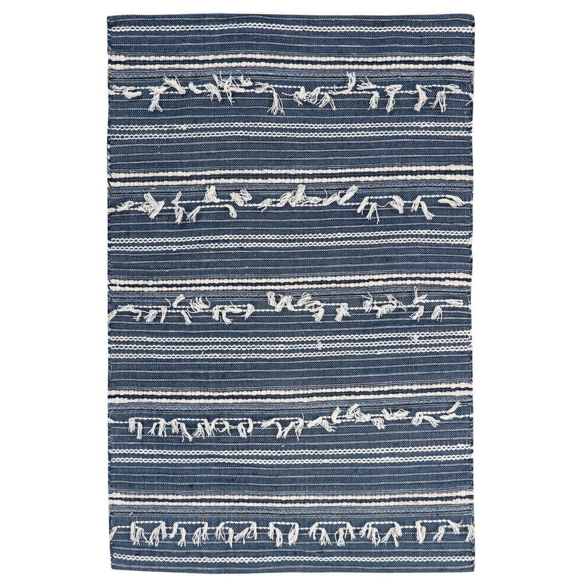 Noir Handwoven Wool Rug, 280x190cm, Denim