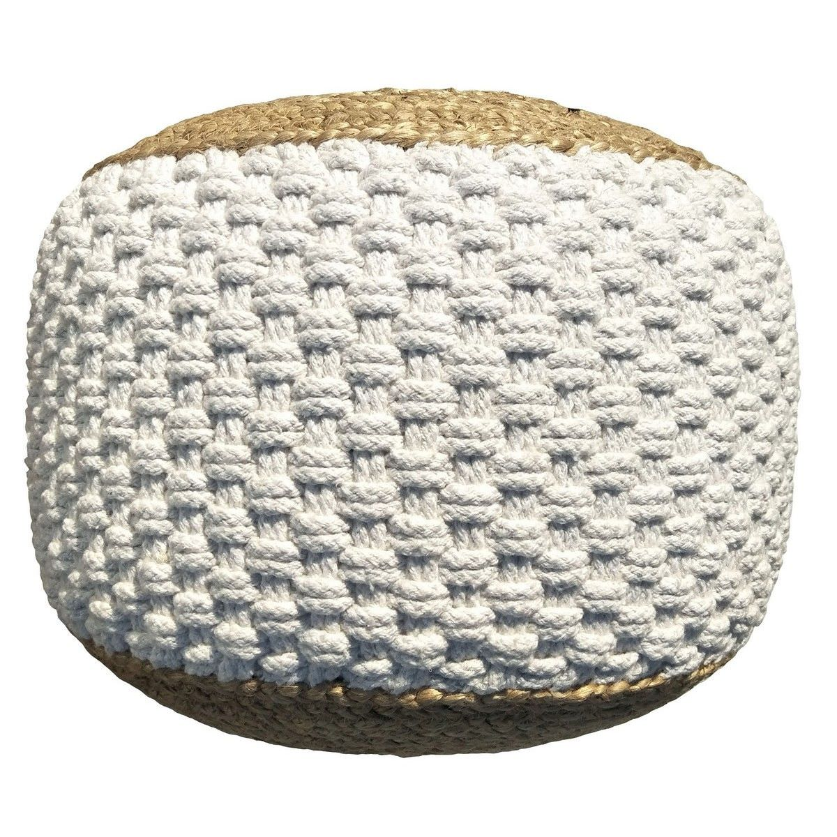 Carmes Jute & Cotton Round Pouf, White