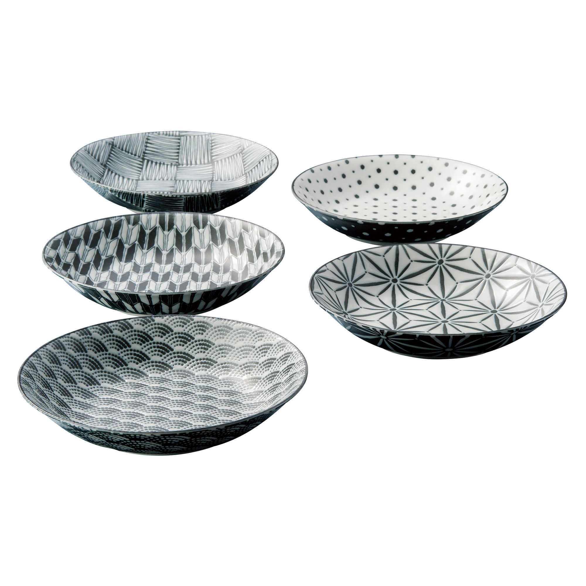 Komon 5 Piece Porcelain Coupe Soup Plate Set