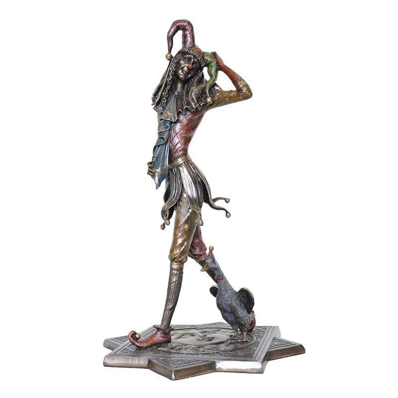Veronese Cold Cast Bronze Coated Jester Figurine, Walking with Duck