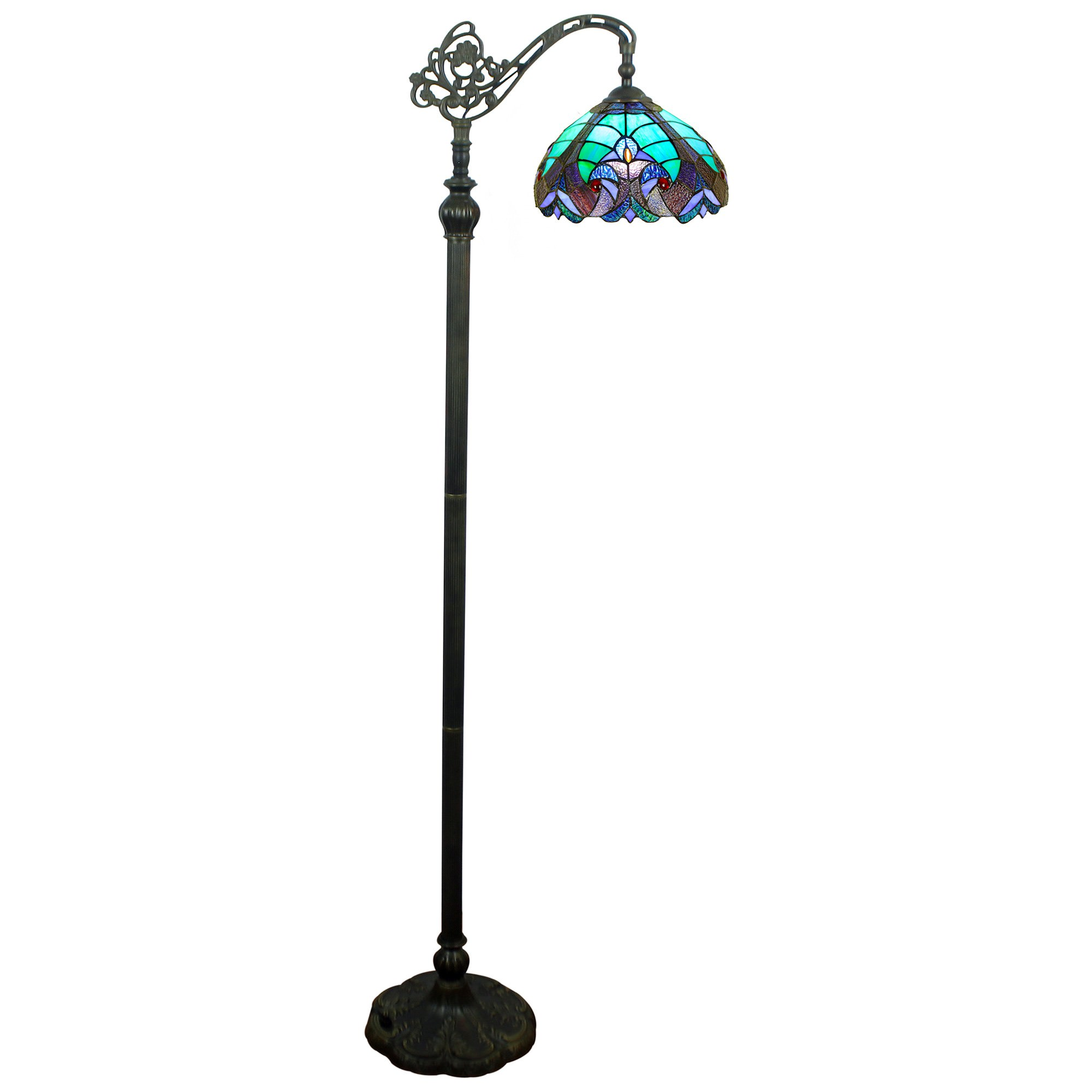 Ebor Tiffany Stained Glass Edwardian Floor Lamp, Small