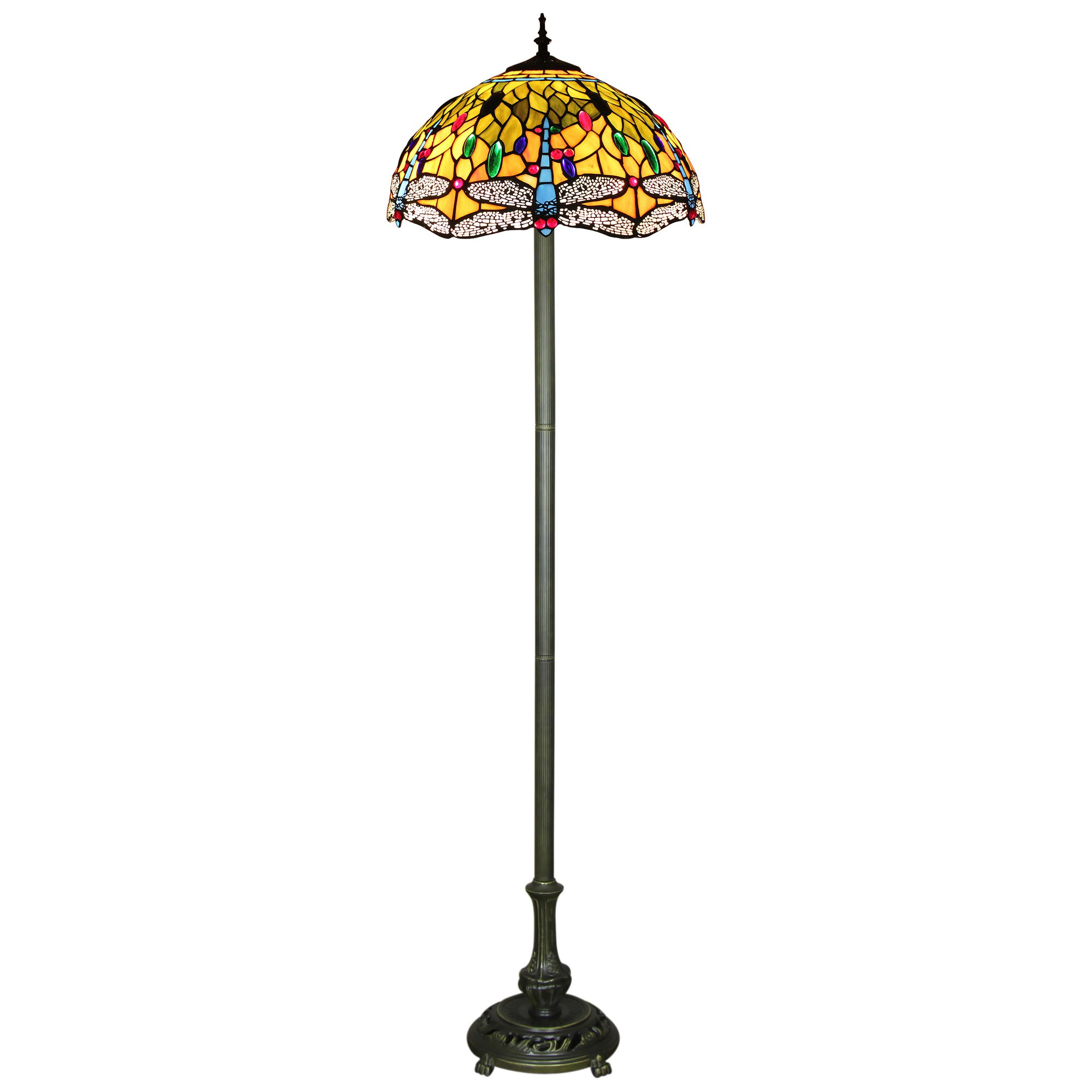 Claudia Tiffany Stained Glass Floor Lamp, Large